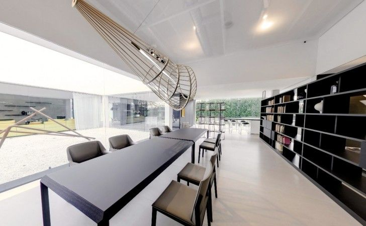 Home Design, Modern Dining Beneath Installation With Running Bookcases ~ Charming Glass Wall Interior Embracing the Minimalist Home Design