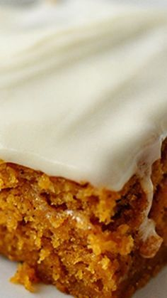 the Best Frosted Pumpkin Bars EVER Recipe ~ They are hands down the best... Moist but fluffy with cream cheese frosting. HEAVEN.