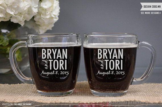 Engraved Wedding Coffee Mugs : Mugs(Set of TWO) Engraved Glass Tempo Square Coffee MugWedding ...