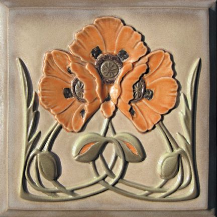 Lewellen Tiles: Art Nouveau Series Porcelain Tiles: Poppy