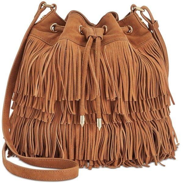 Sam Edelman Fifi Fringe Mini Bucket Bag found on Polyvore featuring bags, handbags, shoulder bags, saddle, bucket bag, mini bucket bag, brown handbags, miniature purse and mini handbags