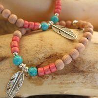 Bracelet plume Amaya rose corail Florenza