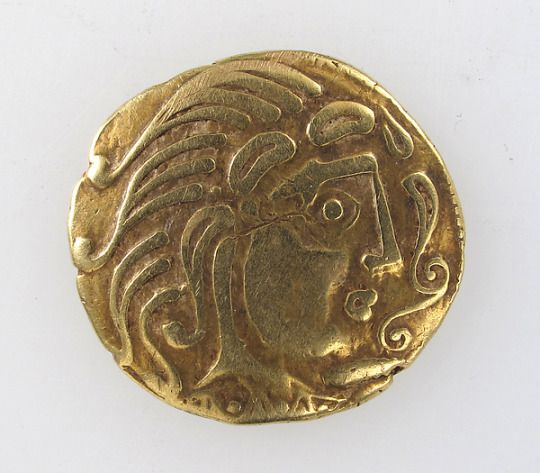 Gold coin of the Parisii   The Celts began making their own coins in the 200s b.c. when they received payment  from Hellenistic kings who employed Celtic warriors as mercenaries. The king weighs 6.8 grams and is about 2cm in diameter.   Celtic, Europe (area of Paris), 2nd century BC.   Source: Metropolitan Museum