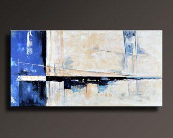 """75"""" große ORIGINAL abstrakte Malerei auf Leinwand zeitgenössische abstrakte moderne Kunst Black White Blue Gray-Wand-Dekor - ungedehnten - AB07Li4"""