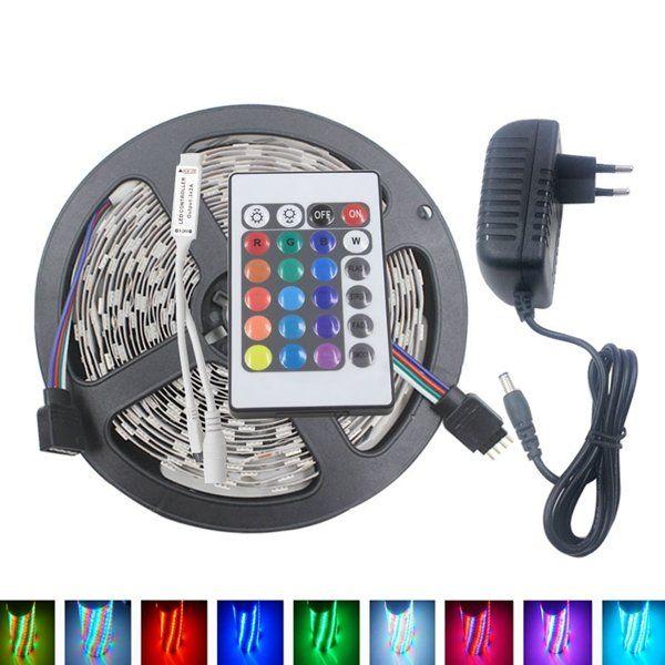 5M 3528 24W RGB 300 Non Waterproof LED Flexible Strip Light 24 Keys IR  Remote
