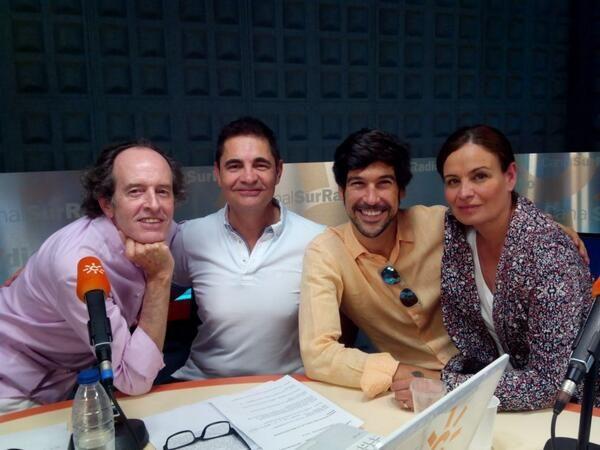 """Foto de """"Aquí estamos"""" (16/06/2014) Programa Aqui Estamos en Canal Sur Radio Manuel junto a parte del equipo de """"Los Fantásticos"""" (de izquierda a derecha: Carlos Telmo, Rafael Cremades y Mayte Chacón) #Músicaemoción"""