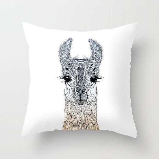 BABY LAMA (CRIA) Throw Pillow by Monika Strigel