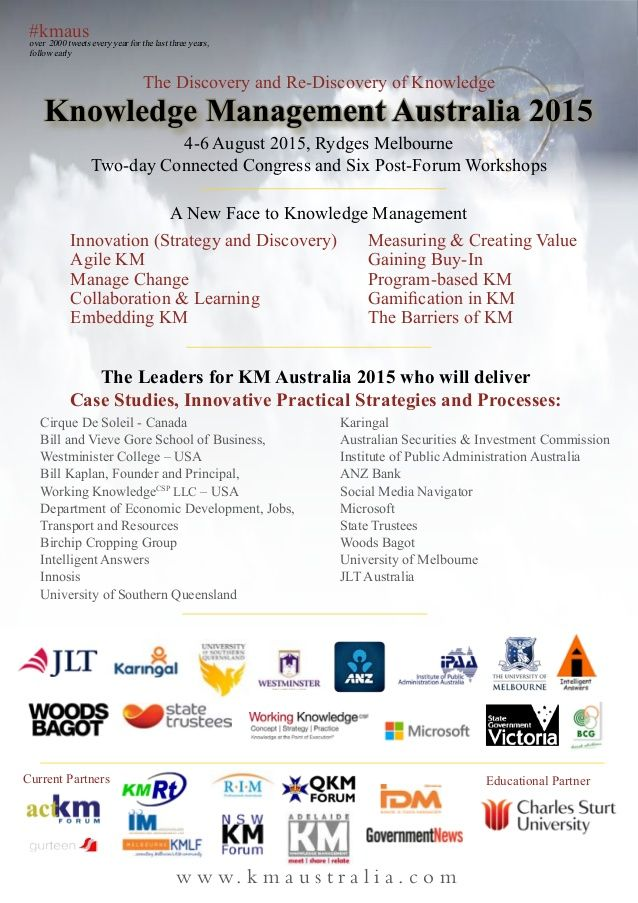 Knowledge Management Australia 2015: The Discovery and Re-Discovery of Knowledge