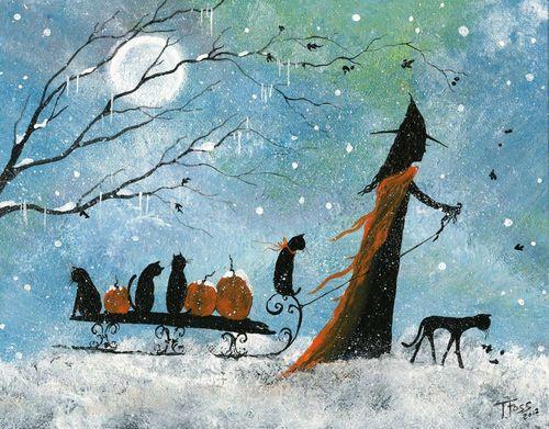 Original Painting WITCH CAT HALLOWEEN CHRISTMAS WINTER PUMPKIN FOLK ART T FOSS