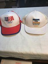 Vintage 1984 & 1988 Olympics Visa McDonald's Cap Trucker Hat Snapback