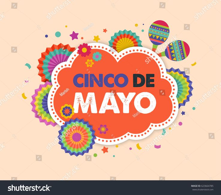 Cinco de Mayo - May 5, federal holiday in Mexico. Fiesta banner and poster design with flags, decorations