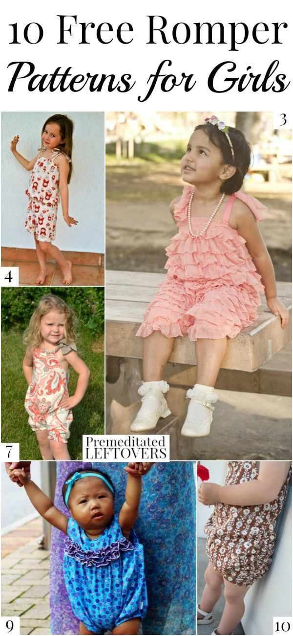 10 Free Romper Patterns for Girls, including pillowcase rompers, ruffled rompers for toddlers, cute rompers for babies and rompers for older girls. DIY sewing tutorial for girls' clothes. Dress your little girl in a homemade one-piece outfit!