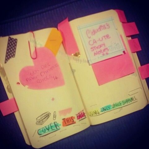 Cover this page in office supplies Work in progress  Wreck this journal