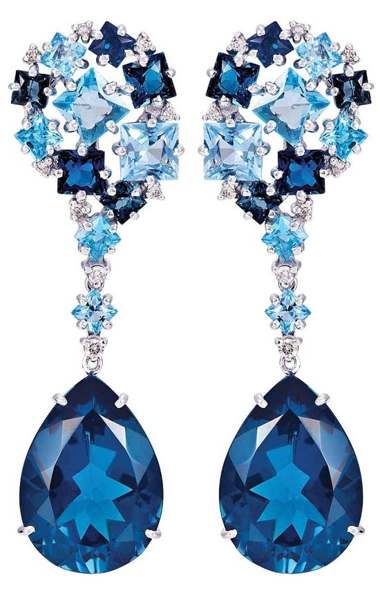 Topaz and Diamond Earrings by Vianna-----The experience of three generations as a traditional family of jewelers, specializing in the production of gold jewelry incorporating Brazilian gemstones and diamonds.