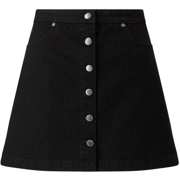 Miss Selfridge Black Button Denim Skirt (685 ZAR) ❤ liked on Polyvore featuring skirts, mini skirts, black, miss selfridge, mini skirt, button skirt, denim skirt and button-front denim skirts