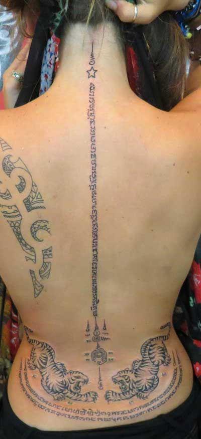 Thai Spine Tattoo For Girls