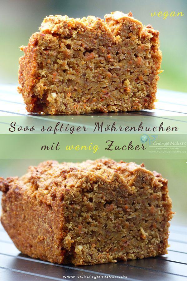 """Rezept: Saftiger Möhrenkuchen mit """"wenig"""" Zucker – vegan – Vegetarische, herzhafte Rezepte Gruppenboard"""