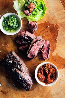 Marinated Hanger Steak Ssam: my husband and I made this as a joint effort on 2/27/13. I made the marinade and the ginger sauce and he cooked the meat. It was fantastic!!