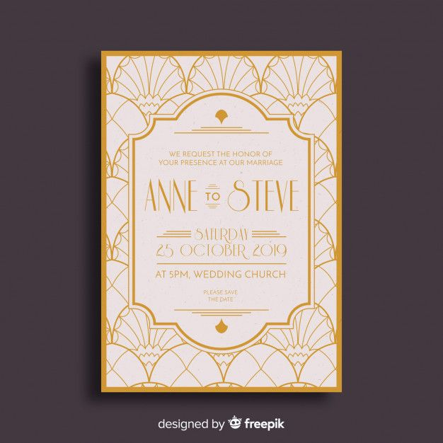 Download Elegant Art Deco Wedding Invitation For Free Art Deco Wedding Invitations Deco Wedding Invitations Art Deco Invitations