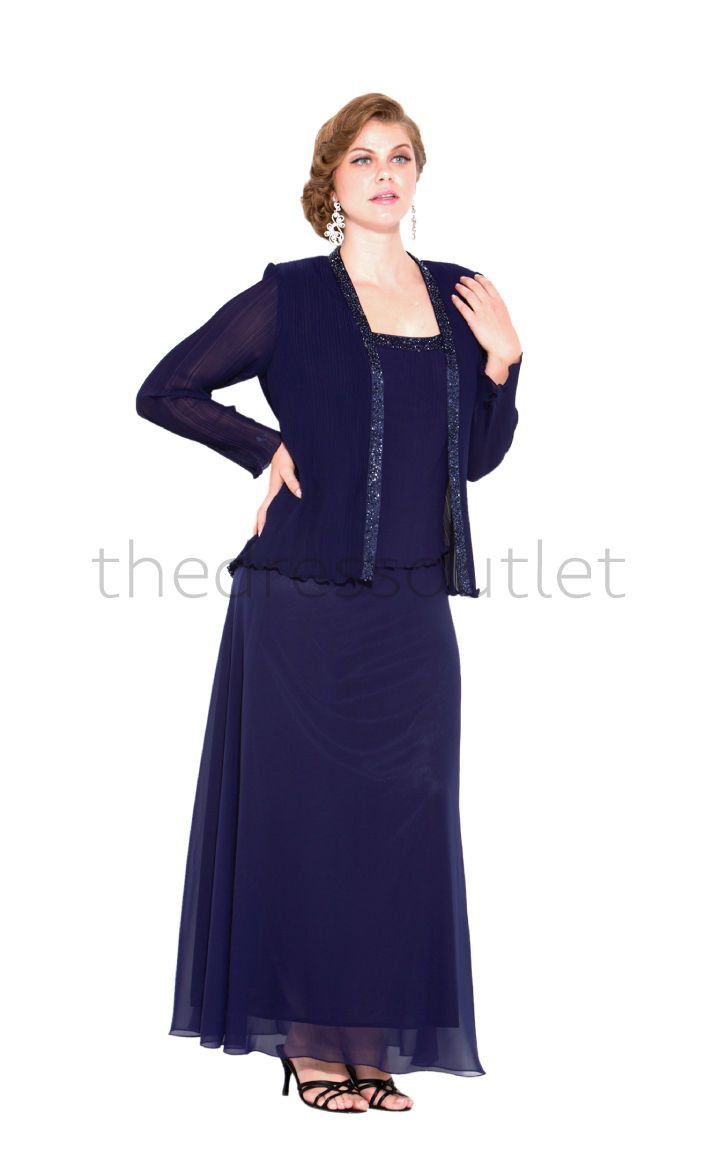 Long Mother of the Bride Dresses Sleeveless Navy Chiffon Plus Size Jacket Sale