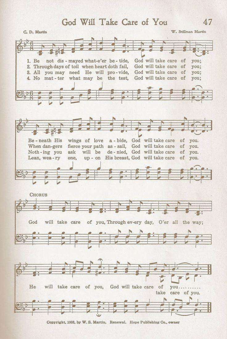 God Will Take Care of You....Remember this so well from the Cokesbury Hymnal! One of my favorites.