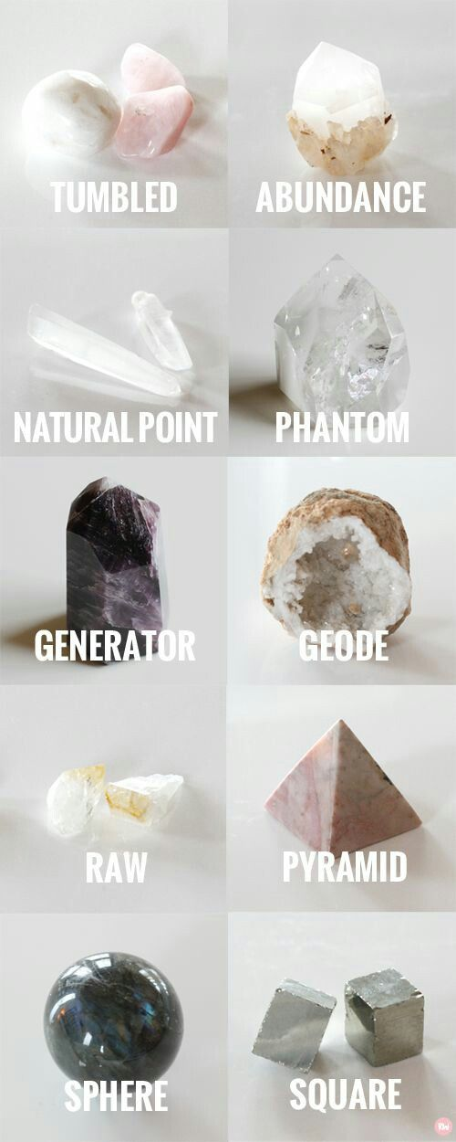 "makingmywiccanway: "" 10 Different Crystal Shapes and How To Use Them TUMBLED Crystals that have been smoothed or polished from their raw form are usually classified as tumbled stones. They have not..."