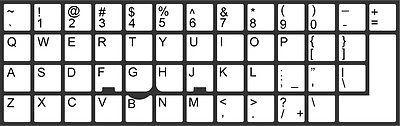 Full Keyboard stickers (English) Vinyl (laminated) white