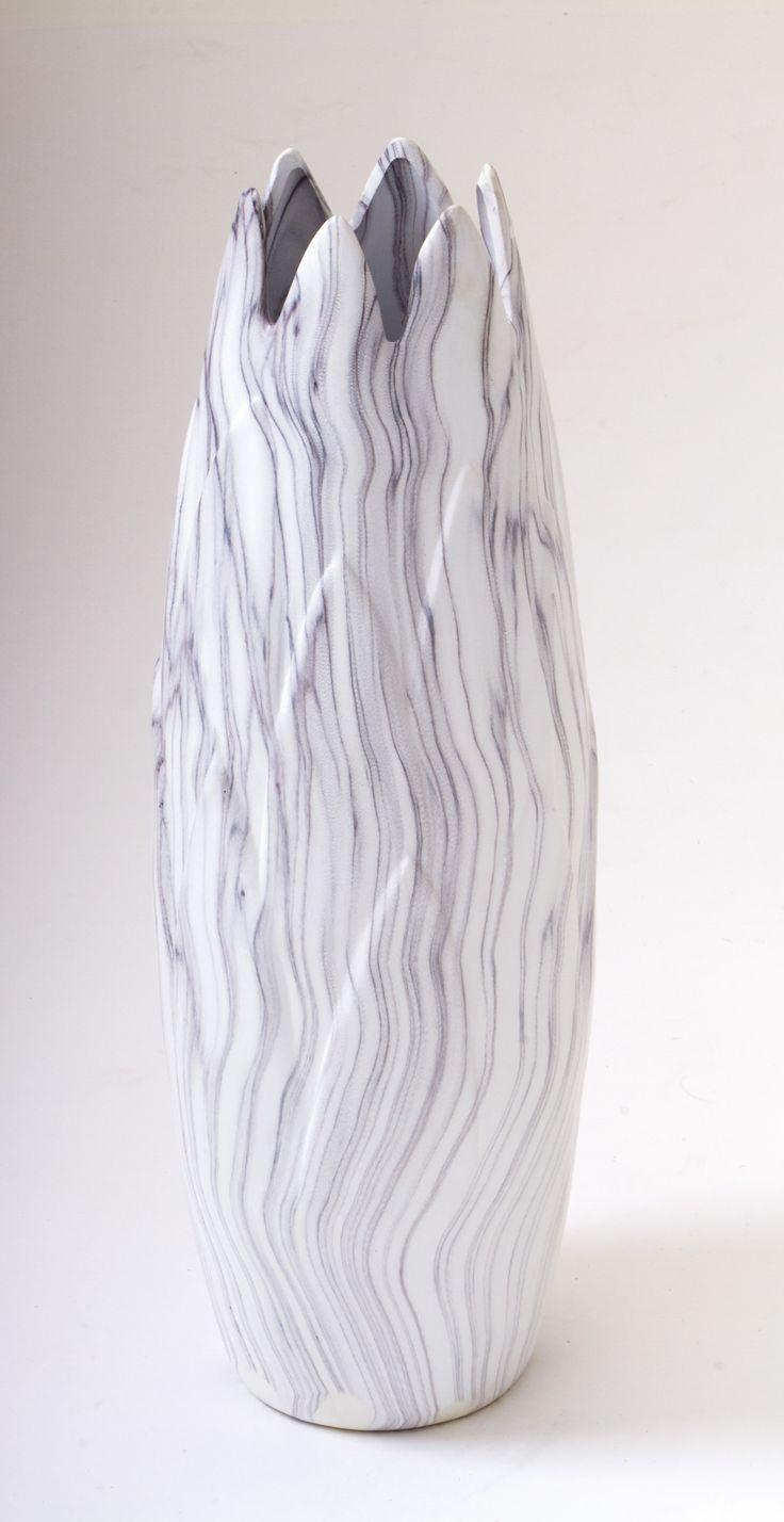 "21"" White Marbled Contemporary Decorative Art Vase Modern Decor"