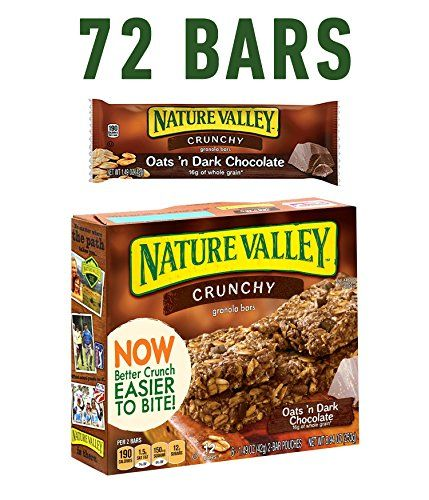 Nature Valley Granola Bars Crunchy Oats and Dark Chocolate 6 Pouches- 1.5 oz 2-Bars Per Pouch (Pack of 6)