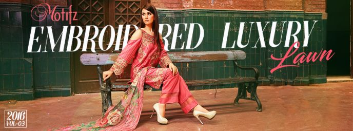 Motifz Embroidered outclass and Luxury Lawn 2016 Vol-3 with Charge, Motifz…