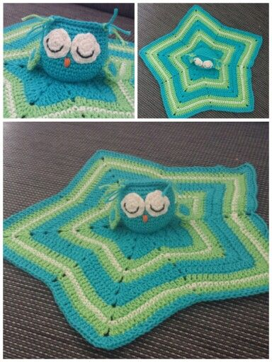 Owl security blanket crochet