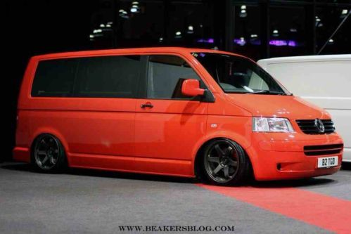Red Vw T5 Slammed