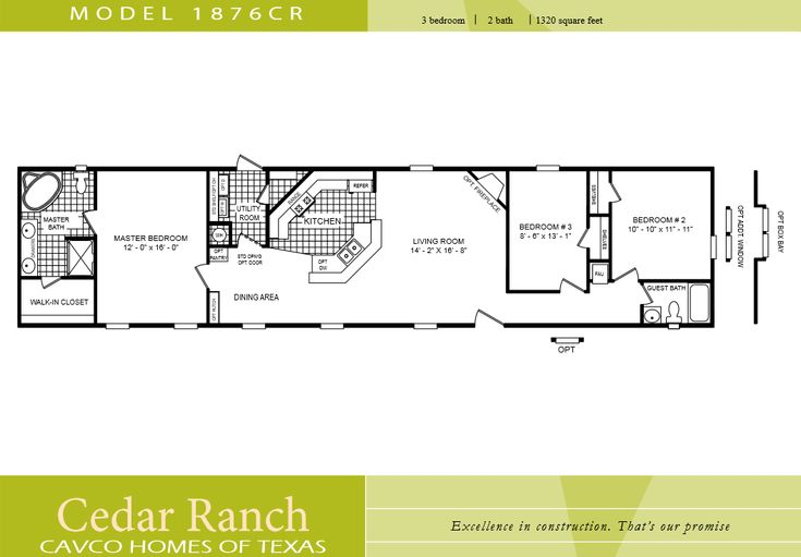 Cavco homes floor plan 1876cr 3 bedroom 2 bath single wide for Tiny house trailer floor plans