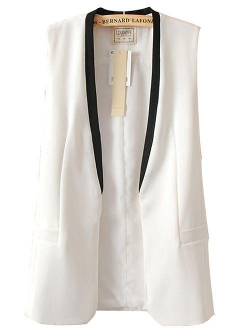 Wholesale V neck covered button contrast color vest MC-313070565 - Lovely Fashion