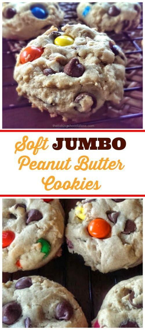 Soft JUMBO Peanut Butter Cookies {PB M&Ms, Milk Chocolate Chips & Reese Cups Allowed!} via @https://www.pinterest.com/BaknChocolaTess/