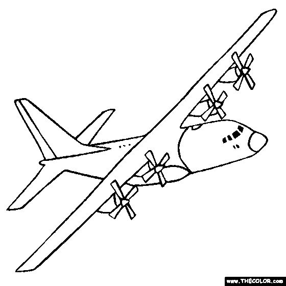 military planes coloring pages | Lockheed C-130 Hercules Military Transport Plane ...