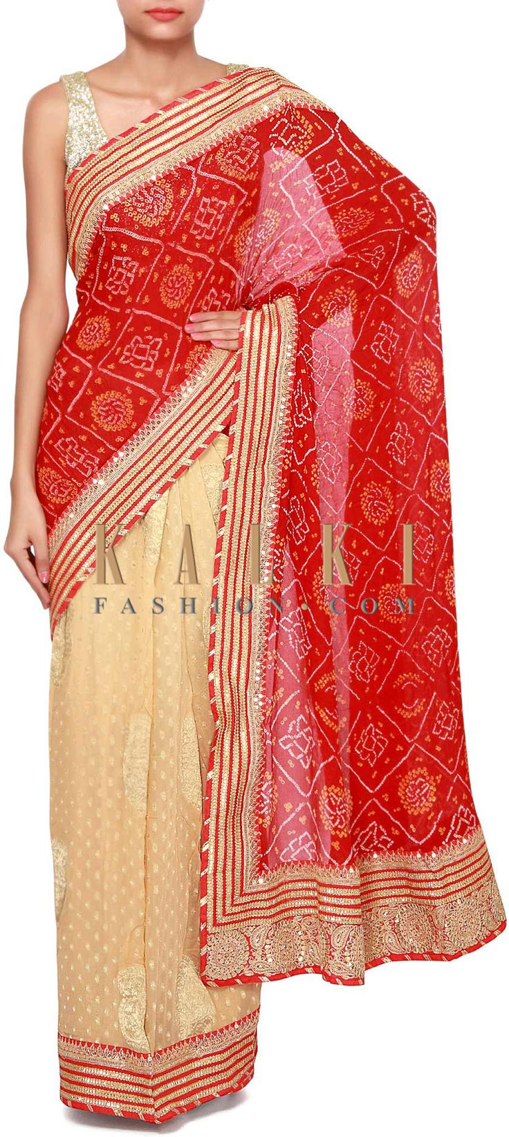 Buy Online from the link below. We ship worldwide (Free Shipping over US$100). Product SKU - 275645.Product Link - http://www.kalkifashion.com/half-and-half-bandhani-saree-in-red-and-beige-adorn-in-gold-lace-only-on-kalki.html