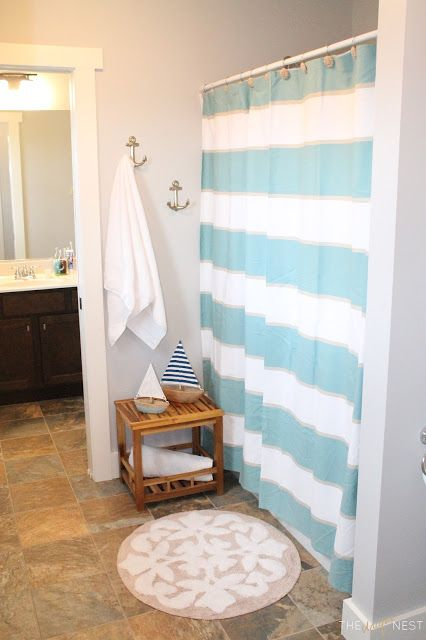 Nautical Kids Bath Makeover; grey wall paint - Benjamin Moore Abalone; coastal decor; Cape Cod inspiration