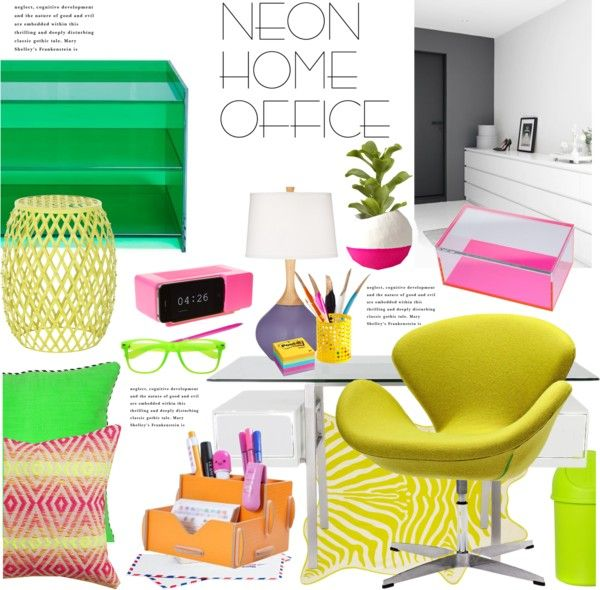 """Neon Home Office"" by janephoto on Polyvore"