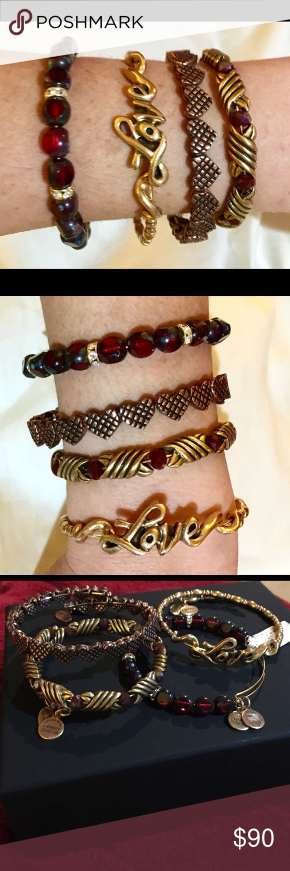 Set of 4 Alex and Ani Retail $202!! Get the Look and save a ton!  All brand-new, this coordinating set includes: 4 beautiful, Authentic, never worn , Alex and Ani pieces! 1) eden beaded bangle in Crimson, RG Retail $48 2) Love Wrap, RG Retail $48 3) Romance Heart Wrap, ROG Retail $58 4) Forest's Blessing Wrap Retail $48  Total retail value $202!!!! Alex & Ani Jewelry