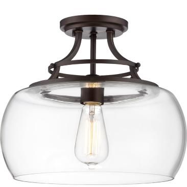 """Charleston Bronze 13 1/2"""" Wide Clear Glass Ceiling Light"""