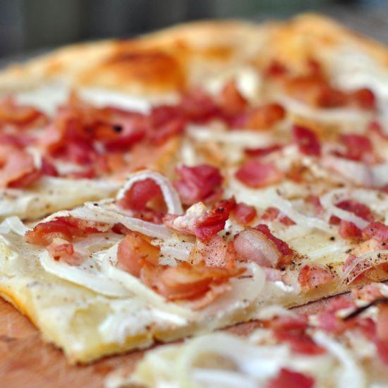 Tarte Flambee, aka Flammekueche or Flammkuchen (is topped with bacon!), via Eat.Live.Travel.Write.