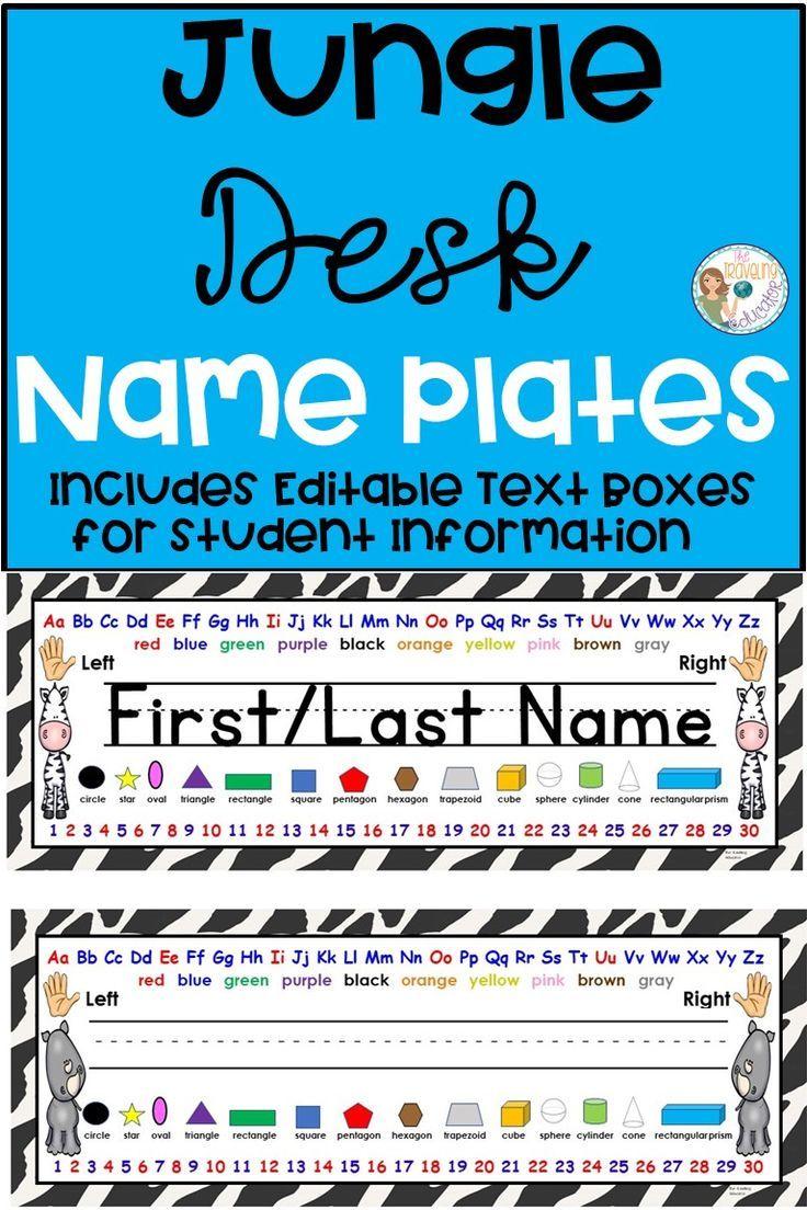 Jungle Desk Name Plates   TPT Pinning Board   Pinterest