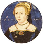 Once believed to be Jane Grey or Elizabeth Tudor, this image is thought to be Amy Robsart, based on jewelry, dress and age of subject