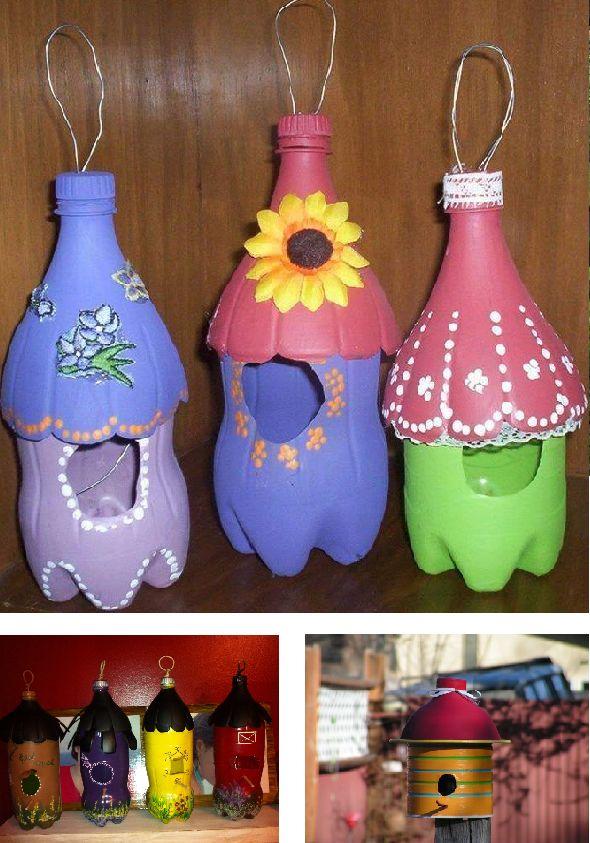 Vogelhuisjes van plastic flessen