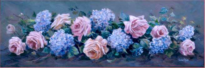 paintings of roses and hydrangeas | Artist Susan Rios Canvas Paintings