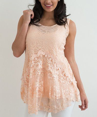 Another great find on #zulily! Orange Lace Layered Sleeveless Tunic #zulilyfinds