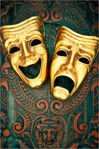 David Muir - Golden comedy and tragedy masks on patterned leather