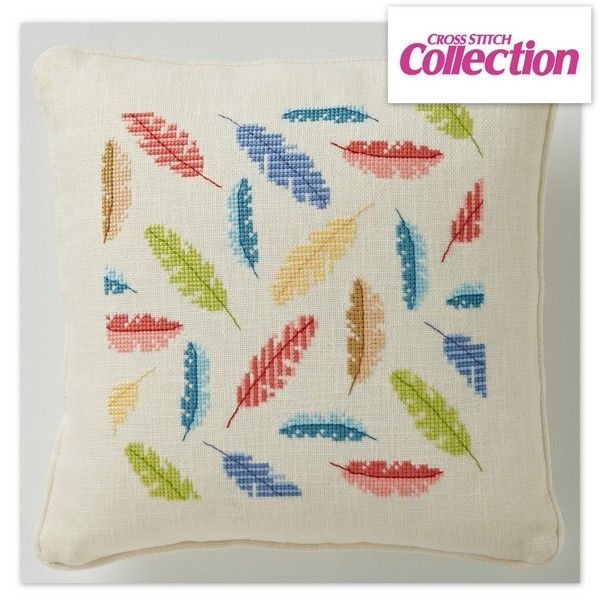 Floating Feathers Cross Stitch Kit: Angela Poole's chic cushion design comes in chunky 19HPI evenweave