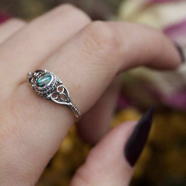RegalRose Antique Silver Ring With Stone (£24) ❤ liked on Polyvore featuring jewelry, rings, abalone shell ring, sea shell jewelry, antique jewelry, seashell jewelry and abalone jewelry